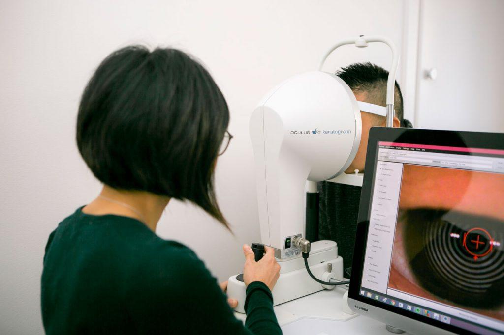Sonya Wijaya performing a routine eye examination